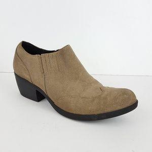 {Kork-Ease} Beige Suede Wingtip Heeled Ankle Boots
